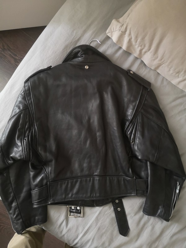 Back of a Schott Perfecto leather jacket.