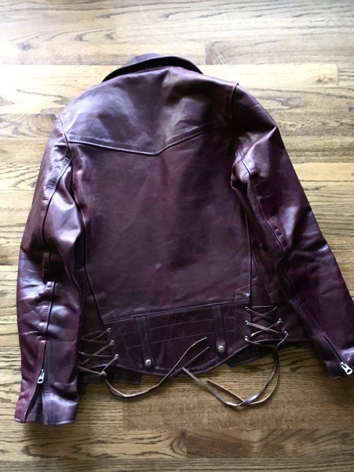"Back of a Schott ""Chips"" jacket"