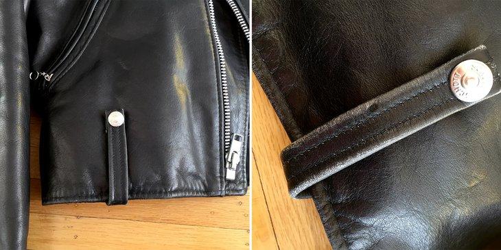Closeup of belt loop on Perfecto biker jacket
