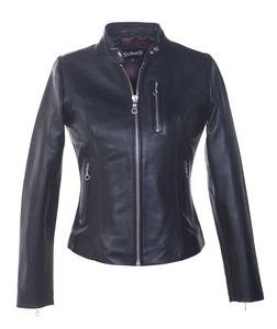 "21141W - Women's Lambskin ""Cafe"" Leather Jacket (Black)"