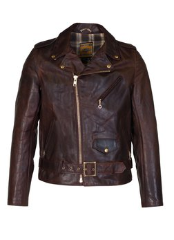 619 - Hand Oiled Lightweight Naked Perfecto Motorcycle Jacket with Plaid Cotton Lining