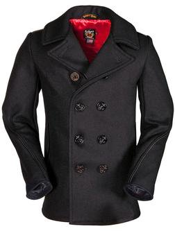 740C - Classic Wool Naval Pea Coat with Leather Trim (Navy)
