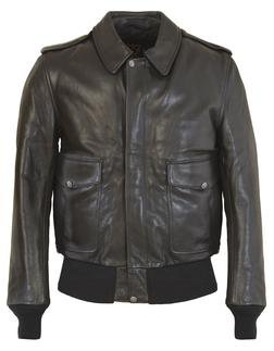 FLT5 - Men's A-2 Leather Flight Jacket in Soft Touch Naked Pebbled Cowhide