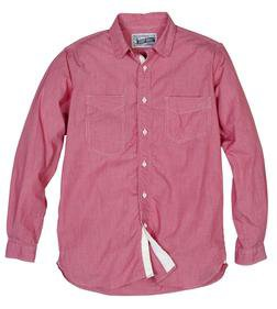SH1327 - Fine Weave Ticking Stripe Cotton Shirt (Red)
