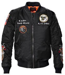 9629 - Men's Nylon Flight Jacket With Patches (Black)